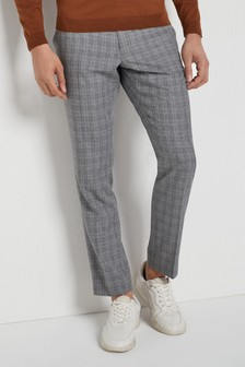 Textured Tapered Slim Fit Trousers
