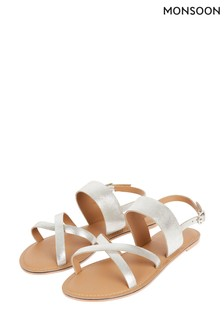 Monsoon Silver Metallic Leather Cross-Over Sandals