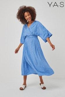 Y.A.S Sustainable Blue Floral Elsa Midi Dress