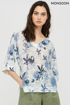 Monsoon Blue Flamingo Palm Linen Blend Jumper