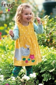 Frugi Organic Yellow Cord Dress With Hippo Appliqué
