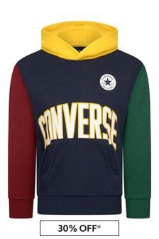 Boys Navy Colourblock Cotton Logo Hoody