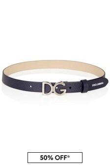 Dolce & Gabbana Kids Navy Leather Belt