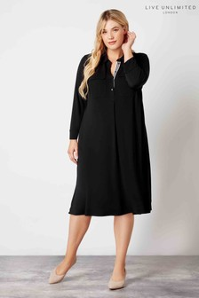 Live Unlimited Black French Crepe Patch Pocket Dress