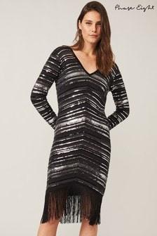 Phase Eight Grey Sibylle Chevron Sequin Dress