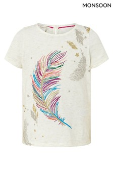 Monsoon Cream Feather Graphic T-Shirt