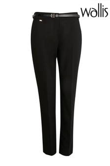 Wallis Black Petite Belted Cigarette Trousers