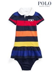 Ralph Lauren Navy Multicoloured Stripe Polo Dress