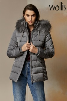 Wallis Grey Horizontal Short Padded Coat
