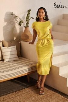 Boden Yellow Odile Jersey Midi Dress