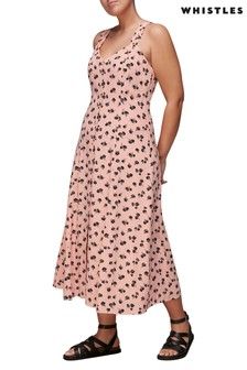 Whistles Pink Floral Low Back Midi Dress