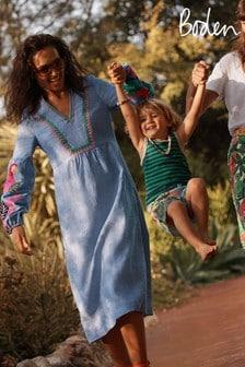 Boden Blue Leonie Linen Dress
