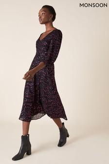 Monsoon Black Gracie Foil Print Midi Dress