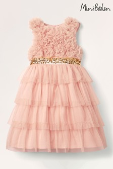 Boden Pink Ruffle Tulle Party Dress