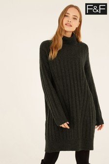 F&F Khaki Rib Roll Neck Dress