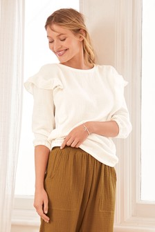 Textured Cotton Ruffle Top