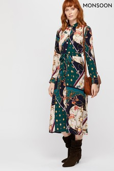 Monsoon Blue Pearly Queen Print Shirt Dress