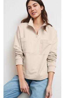 Zip Neck Pocket Sweatshirt