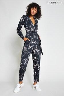 Harpenne Black Marble Print Wrap Front Jumpsuit