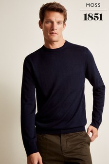Moss 1851 Navy Merino Crew Neck Jumper