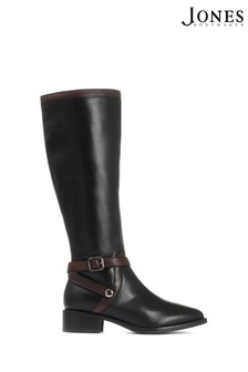 Jones Bootmaker Black Leather Flat Pointed Riding Boots