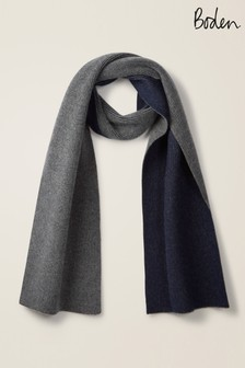 Boden Charcoal/Navy Ribbed Cashmere Scarf
