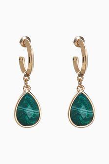 Green Stone Mini Hoop Earrings
