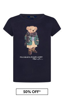 Girls Navy Cotton Jersey Bear T-Shirt