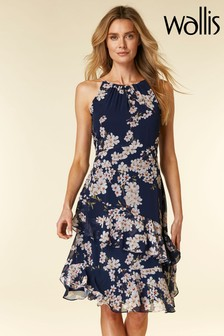 Wallis Blue Magnolia Tiered Dress