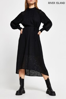 River Island Black Burnout Waisted Midi Dress