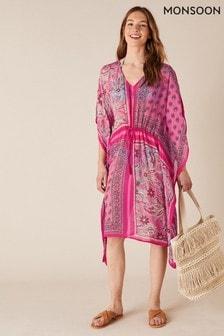 Monsoon Pink Mixed Print Kaftan In Sustainable Viscose