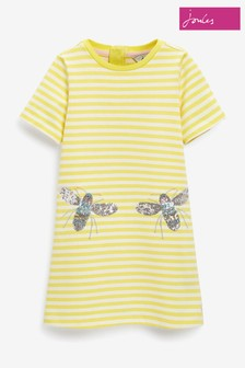Joules Yellow Rosalee A-Line Artwork Dress