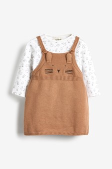 Character Knitted Pinafore And Bodysuit Set (0mths-3yrs)