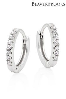 Beaverbrooks Sterling Silver Cubic Zirconia Huggie Hoop Earrings
