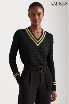 Lauren Ralph Lauren® Black Gold Lurex Meren V-Neck Jumper