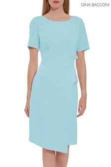 Gina Bacconi Blue Lilianna Moss Crepe Dress
