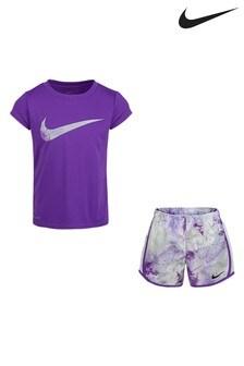 Nike Little Kids Purple Tie Dye T-Shirt And Shorts Set
