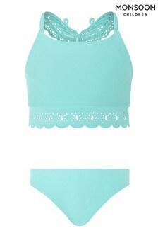 Monsoon Blue Butterfly Laser-Cut Bikini Set