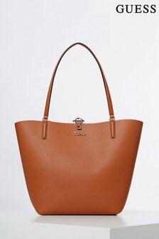 Guess Reversible Tan/Gold Alby Bag