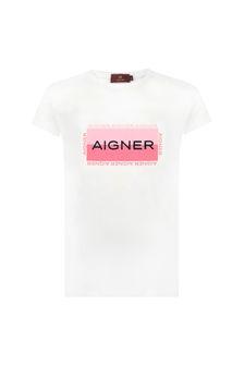 Aigner Girls White Cotton T-Shirt
