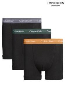 Calvin Klein Black Cotton Blend Stretch Trunks Three Pack