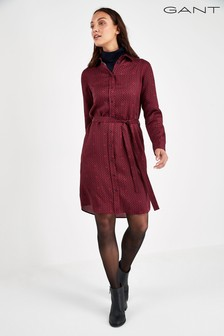 GANT Red Signature Weave Shirt Dress