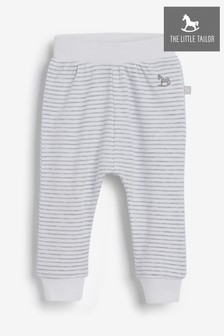 The Little Tailor White Yarn Dyed Stripe Jersey Slouch Pants