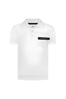 Givenchy Kids Boys White Cotton Poloshirt