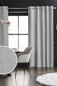 Light Grey Heavyweight Chenille Eyelet Lined Curtains