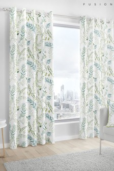 Fusion Fernworthy Botanical Leaves Lined Eyelet Curtains