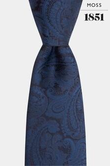Moss 1851 Navy Paisley Pattern Tie