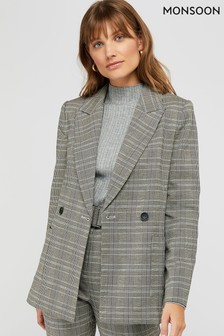 Monsoon Grey Ettie Check Jacket