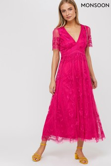 Monsoon Pink Valentina Embroidered Midi Dress