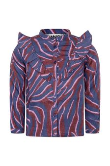 Girls Purple Zebra Stripe Viscose Blouse